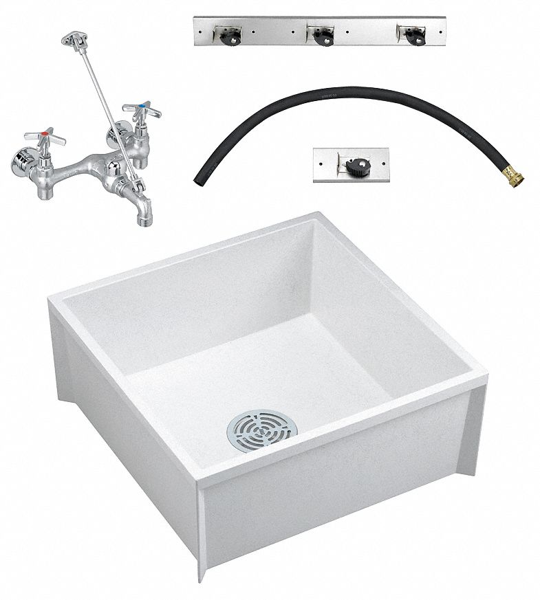 Fiat Products,  Modesto Series,  23 3/4 in x 23 3/4 in,  Molded Stone,  Mop Service Sink Kit