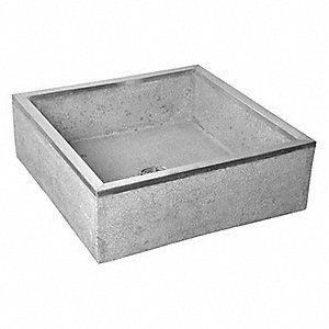 "24"" x 24"" x 12"" Gray with Black and White Chips Mop Sink, 10"" Bowl Depth, Terrazzo with Stainless St"