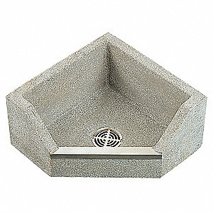 Gray With Black And White Chips Corner Mop Sink with Drop Front, Without Faucet