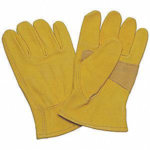 Cowhide Drivers Gloves, Shirred Wrist Cuff, Saddletan, Size: M, Left and Right Hand