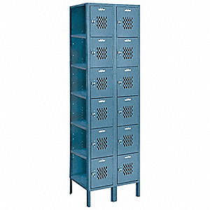 Box Lockr,Ventilated,2 Wide, 6 Tier,Gra