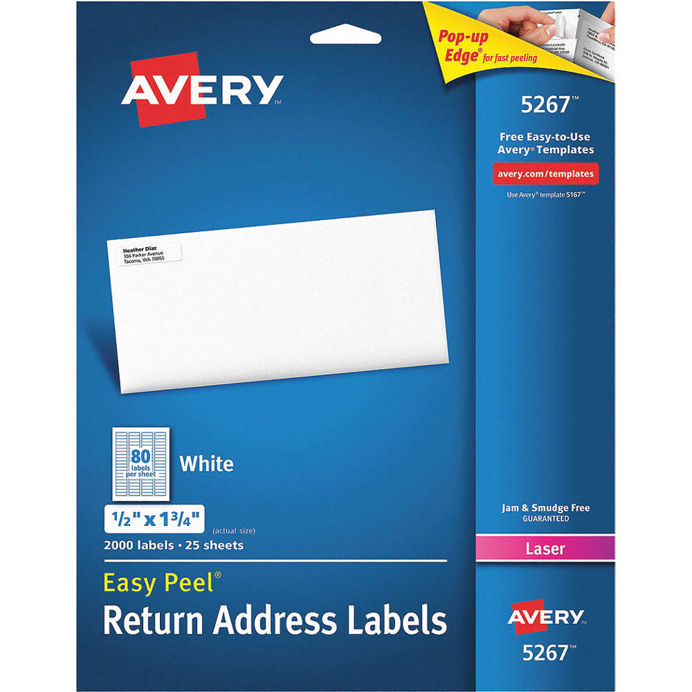 Avery Label 1 34w X 12h 2000 Labels Pk25 5nhf85267 Grainger