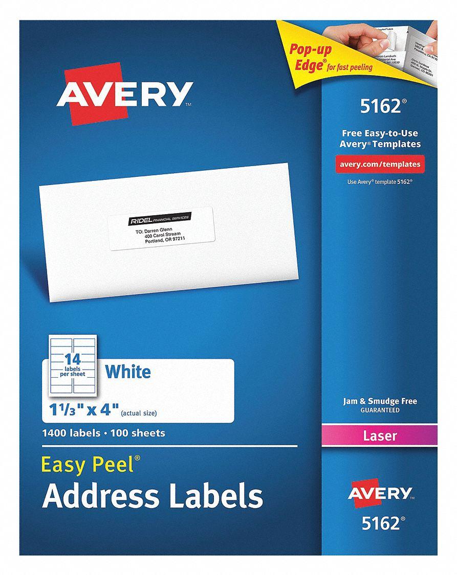 Avery Label 4w X 1 34h 1400 Labels Pk100 5nhg55162 Grainger