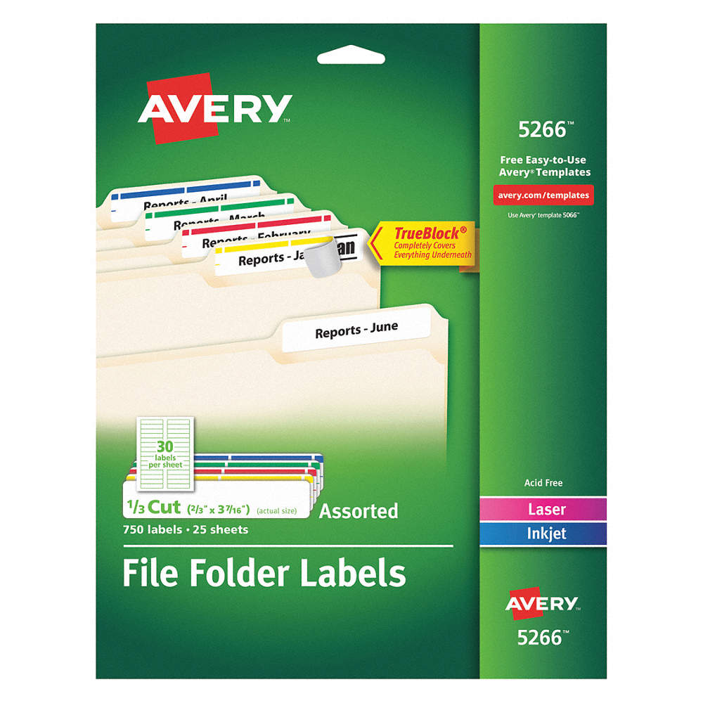 Avery Label 3 716w X 23h 750 Labels Pk25 5nhl75266 Grainger