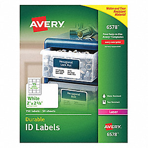 "Label, 2-5/8""Wx2""H, 750 No. of Labels, PK50"