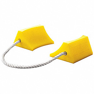 "High Visibility Yellow Aircraft Wheel Chock, Urethane, 4-1/2"" Width, 5-1/2"" Depth, 2-3/4"" Height"