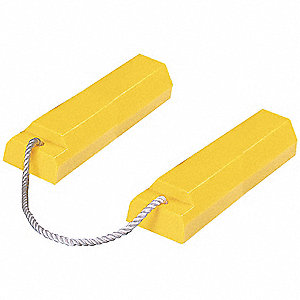 "High Visibility Yellow Aircraft Wheel Chock, Urethane, 5"" Width, 18"" Depth, 3"" Height"