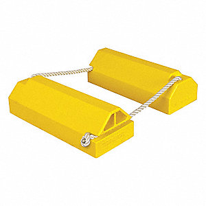 "High Visibility Yellow Aircraft Wheel Chock, Urethane, 8"" Width, 56"" Depth, 6"" Height"