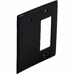 Toggle Switch/Blank Wall Plate, Black, Number of Gangs: 2