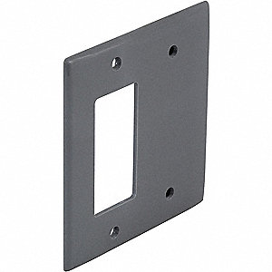 Toggle Switch/Blank Wall Plate, Gray, Number of Gangs: 2