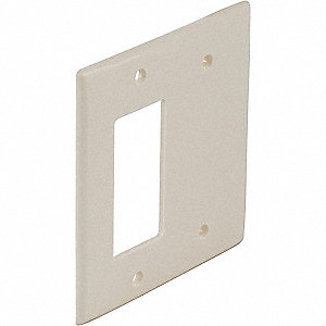 Toggle Switch/Blank Wall Plate, Light Almond, Number of Gangs: 2, Weather Resistant: No