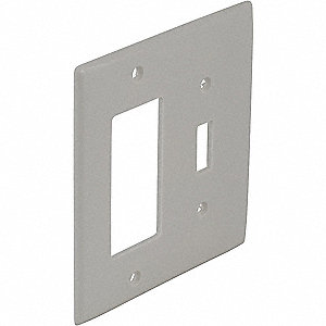 Toggle Switch Wall Plate, White, Number of Gangs: 2