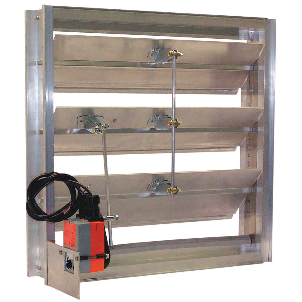 Hat Channel Motorized Damper, Extruded Aluminum, Number of Panels 1, 100 to  240 Voltage