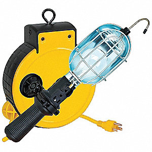 25 ft. Indoor General Purpose Extension Cord Reel with Hand Lamp, Yellow; Handle: Switch with Side O