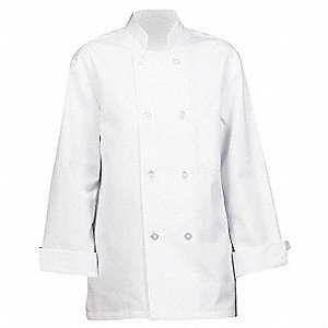 Unisex Chef Coat with Reversible Closure Collar, White, 3XL
