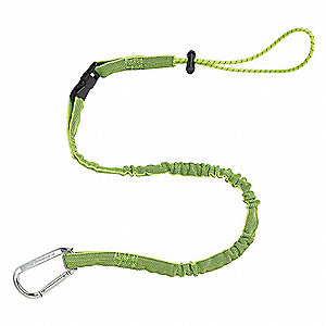 "Shock Absorbing Tool Lanyard, 35 to 42"" Length, HV Lime, 5 lb. Max. Working Load"