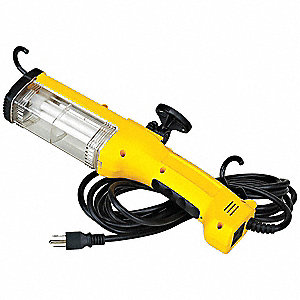 Fluorescent Hand Lamp, 26 Lamp Watts, 50 ft. Cord Length, Yellow
