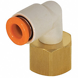"Brass, Polybutylene Female Elbow, 90°, 13/32"" Tube Size"