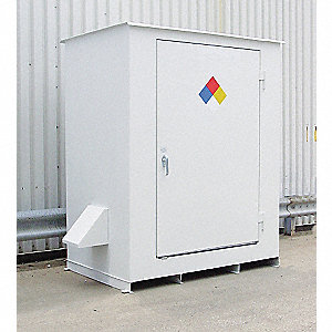 "96"" x 58"" x 98"" Steel Storage Building with No Fire Rating, White"