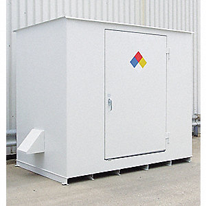 "143"" x 70"" x 98"" Steel Storage Building with No Fire Rating, White"