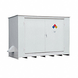 "14 ft. x 5 ft. 10"" x 8 ft. 2"" Steel Storage Building with Not Rated Fire Rating, White"