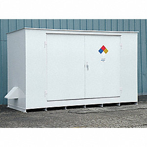 "193"" x 70"" x 98"" Steel Storage Building with No Fire Rating, White"