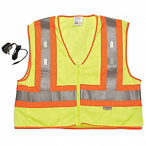 Yellow/Green with Silver Stripe LED Flashing Safety Vest, ANSI 2 Closure, 2XL