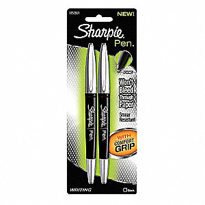 Permanent Pen,Stick,Fine,Black,PK2