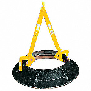 "Manhole Sleeve Lifter, 1000 lb., 12"" to 30"", Clamp Range 0 to 2-7/8"", Headroom 36-5/8"""