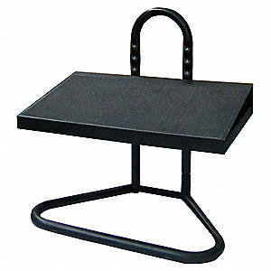 "5"" to 15"" Steel Adjustable Shop Stool Foot Rest with 8° Tilting Angle, Black"