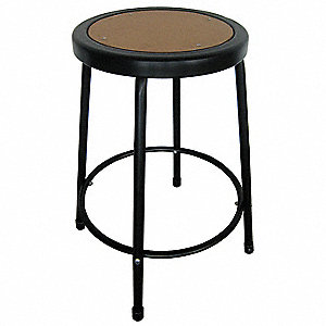 "Round Stool with 30"" Seat Height Range and 250 lb. Weight Capacity, Natural Wood"