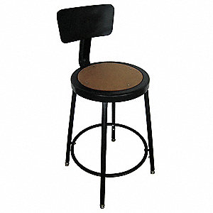 "Round Stool with 18"" to 27"" Seat Height Range and 250 lb. Weight Capacity, Black"
