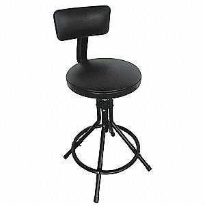 "Round Stool with 24 to 28"" Seat Height Range and 250 lb. Weight Capacity, Black"