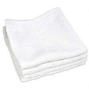 "13"" x 13"" 100% Cotton Wash Cloth, White&#x3b; PK12"