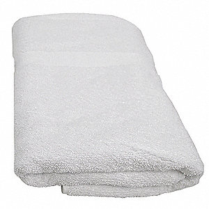 "40"" x 20"" 86% Cotton; 14% Polyester Bath Towel, White; PK12"