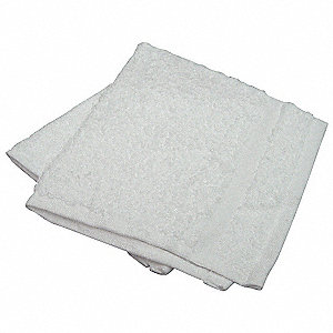 "12"" x 12"" 86% Cotton&#x3b; 14% Polyester Wash Cloth, White&#x3b; PK12"