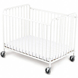 "42"" x 25-1/2"" x 39-1/2"" Steel Folding Crib, White"