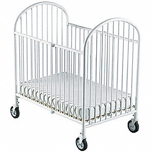 "40""L x 28""W x 43""H Compact Folding Crib, White Steel"