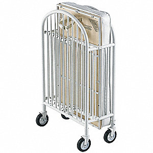 "55"" x 31"" x 43"" Steel Folding Crib, White"