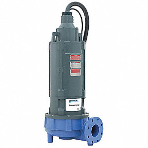 7-1/2 HP Manual Submersible Sewage Pump, 230 Voltage, 875 GPM of Water @ 15 Ft. of Head