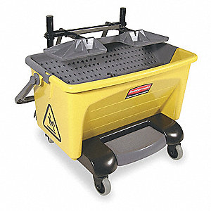 Gray/Yellow Polypropylene Mop Bucket and Wringer, 7 gal.