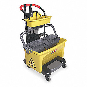 Yellow and Gray Polypropylene Mop Bucket and Wringer, 28 qt.