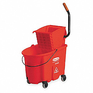 Red Polypropylene Mop Bucket and Wringer, 8.75 gal.