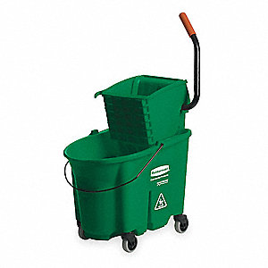 Green Polypropylene Mop Bucket and Wringer, 8.75 gal.