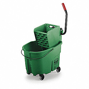 Green Polypropylene Mop Bucket and Wringer, 8-3/4 gal.
