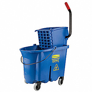 Blue Polypropylene Mop Bucket and Wringer, 8.75 gal.