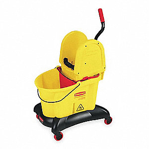 Yellow Polypropylene Mop Bucket and Wringer, 8.75 gal.