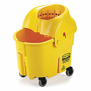 Yellow Polypropylene Mop Bucket and Wringer, 8-3/4 gal.