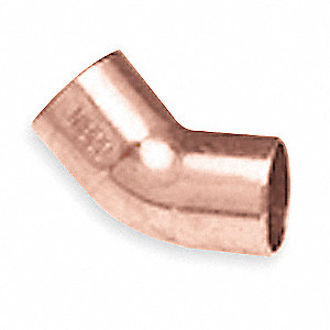 "Wrot Copper Elbow, 45°, C x C Connection Type, 1/2"" Tube Size"