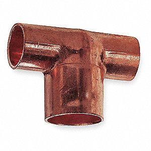 "Wrot Copper Reducing Tee, C x C x C Connection Type, 1/2"" x 1/2"" x 3/4"" Tube Size"